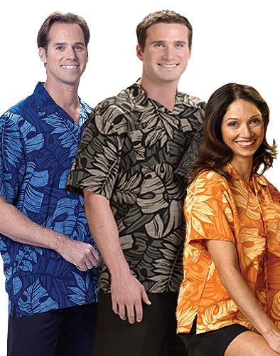 Picture of South Seas Unisex Leaf Print Camp Shirt, Promotional Logo Leaf Print Camp Shirts