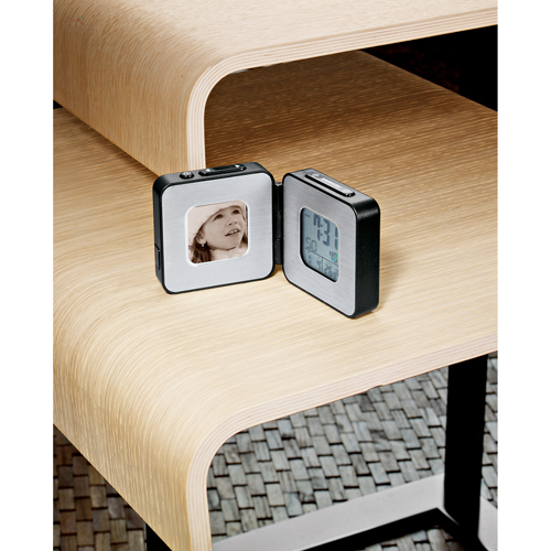 Picture of Column Digital Photo Frame Alarm Clock, Promotional Logo Digital Photo Frame Alarm Clock