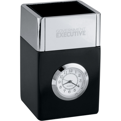 Picture of Futura Pencil Cube Clock, Promotional Logo Pencil Cup