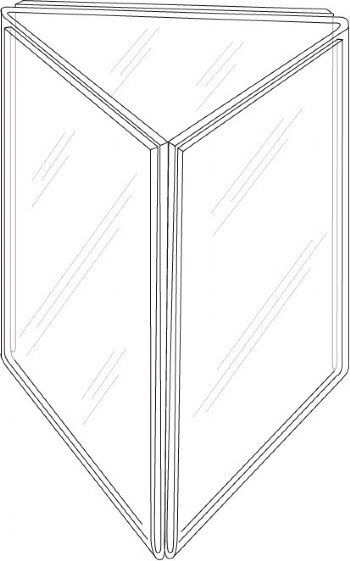 "Picture of 4""w x 9""h Clear Styrene Three-Panel Table Tent"