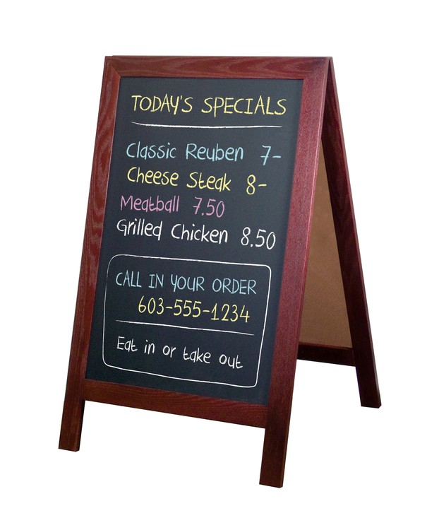Picture of MAHOGANY A-Frame chalkboard sign for restaurants.