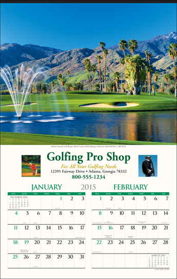 Picture of Golf Calendar, Promotional Logo Golf Six Sheet Calendar
