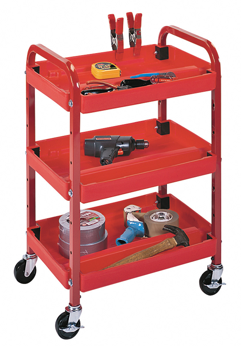 Picture of Luxor ATC332. Three Shelf Adjustable Steel & Plastic Utility Cart - Red