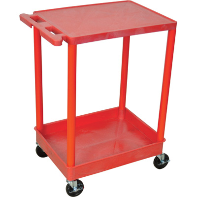 "Picture of Luxor RDSTC21RD 18"" x 24"" 2 Shelf Red Tub Cart 1 Flat Shelf Red Legs"