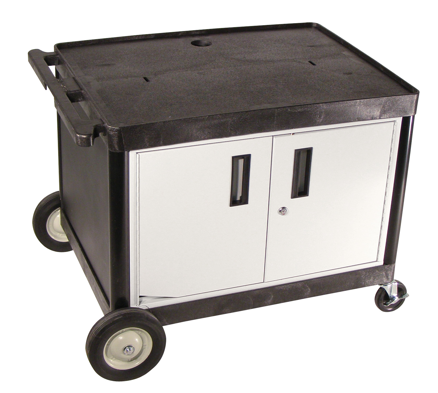 "Picture of Luxor ENDURA LEB26C Locking cabinet table with surge electric & 8"" big wheels on one end."