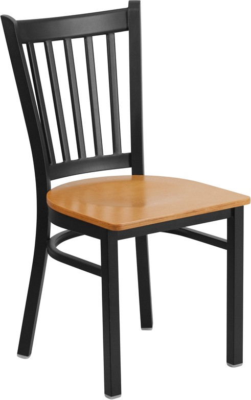 Picture of HERCULES Series Black Vertical Back Metal Restaurant Chair - Natural Wood Seat - XU-DG-6Q2B-VRT-NATW-GG