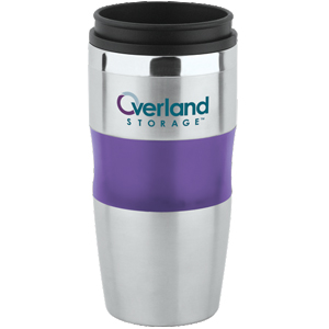 Picture of 16 oz Stainless / Acrylic Banded Tumbler with Plastic lid
