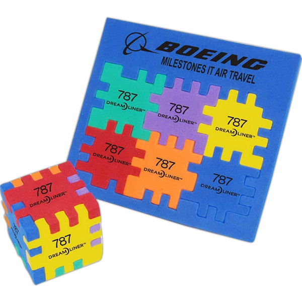 Picture of Krazy Cube - Multi Color Foam Cube Puzzle, Promotional Logo Multi-Color Foam Cube Puzzle
