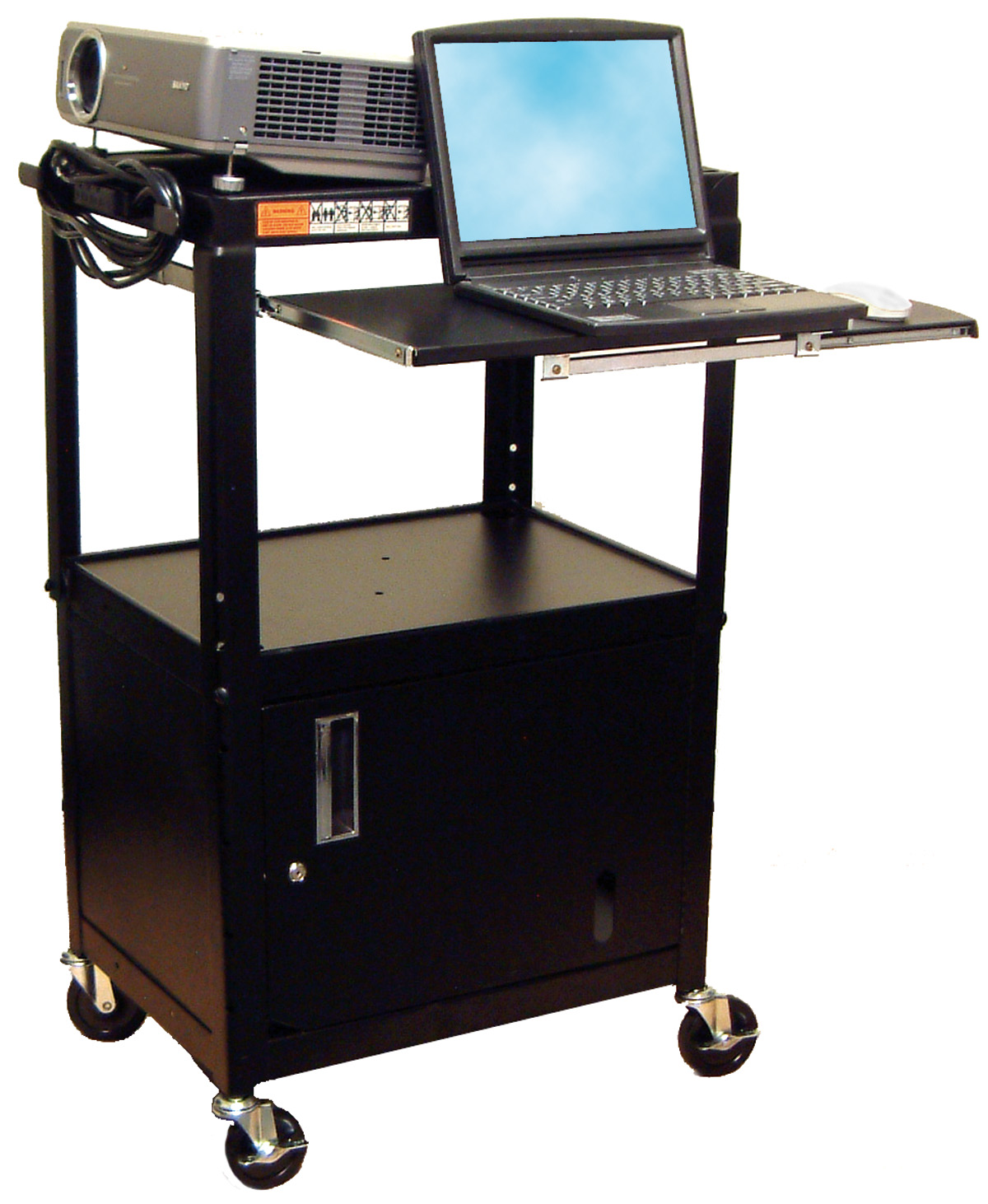 "Picture of Luxor AVJ42KBC - Adj.  Ht. Steel 42"" High Cart W/Cabinet & Pullout Tray - Black"