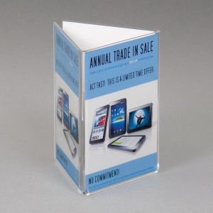 "Picture of 4"" x 6"" - Clear acrylic 3 sided top loading sign holder."