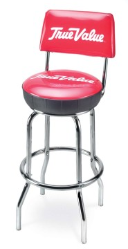 Picture of Upholstered Ring Stool with Back, Logo Upholstered Ring Stool with Back