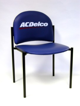 Upholstered Straight Back Logo Chair, Logo Upholstered Straight Back Chair