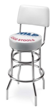 Picture of Upholstered Logo Double Ring Stool with Back, Logo Upholstered Double Ring Stool with Back