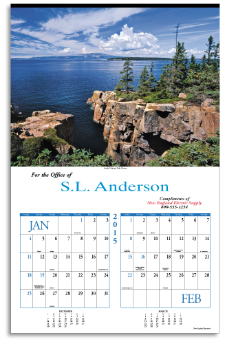 Picture of New England Calendar, Promotional Logo New England Calendars, New England Six Sheet Calendar