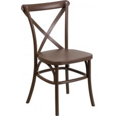 Picture of HERCULES Series Chocolate Resin Indoor-Outdoor Cross Back Chair with Steel Inner Leg