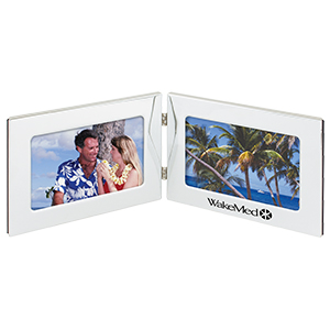 "Picture of 4"" x 6"" Silver Twin Frame, Promotional Logo 4"" x 6"" Silver Twin Frame"